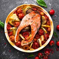 grilled salmon fish steak with potato onion and YRVMXCL