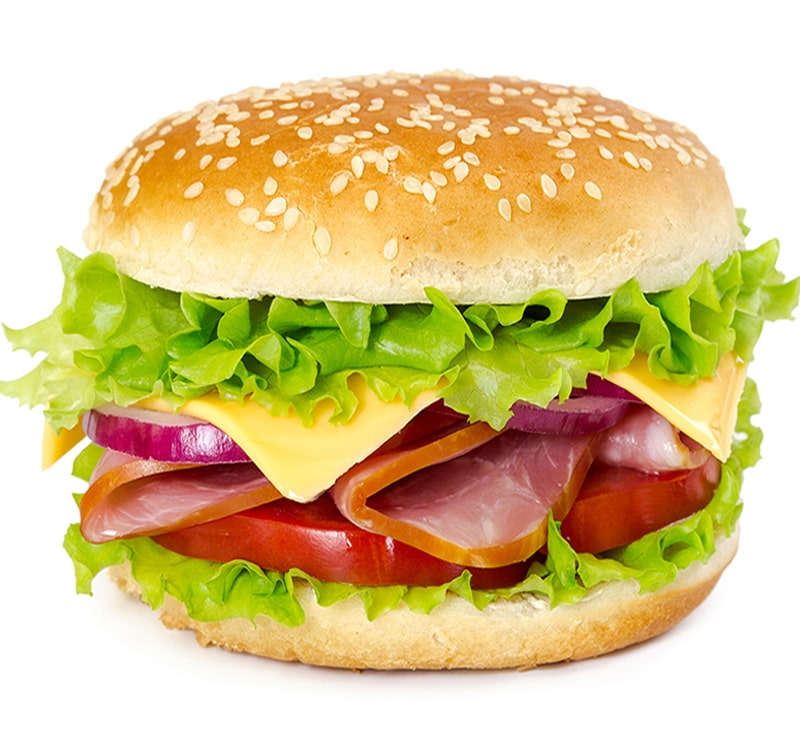 sandwich with ham tomato cheese onion and lettuce PHPLXJ3