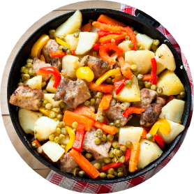 Meat with vegetables.