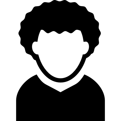 curly hair young man profile avatar