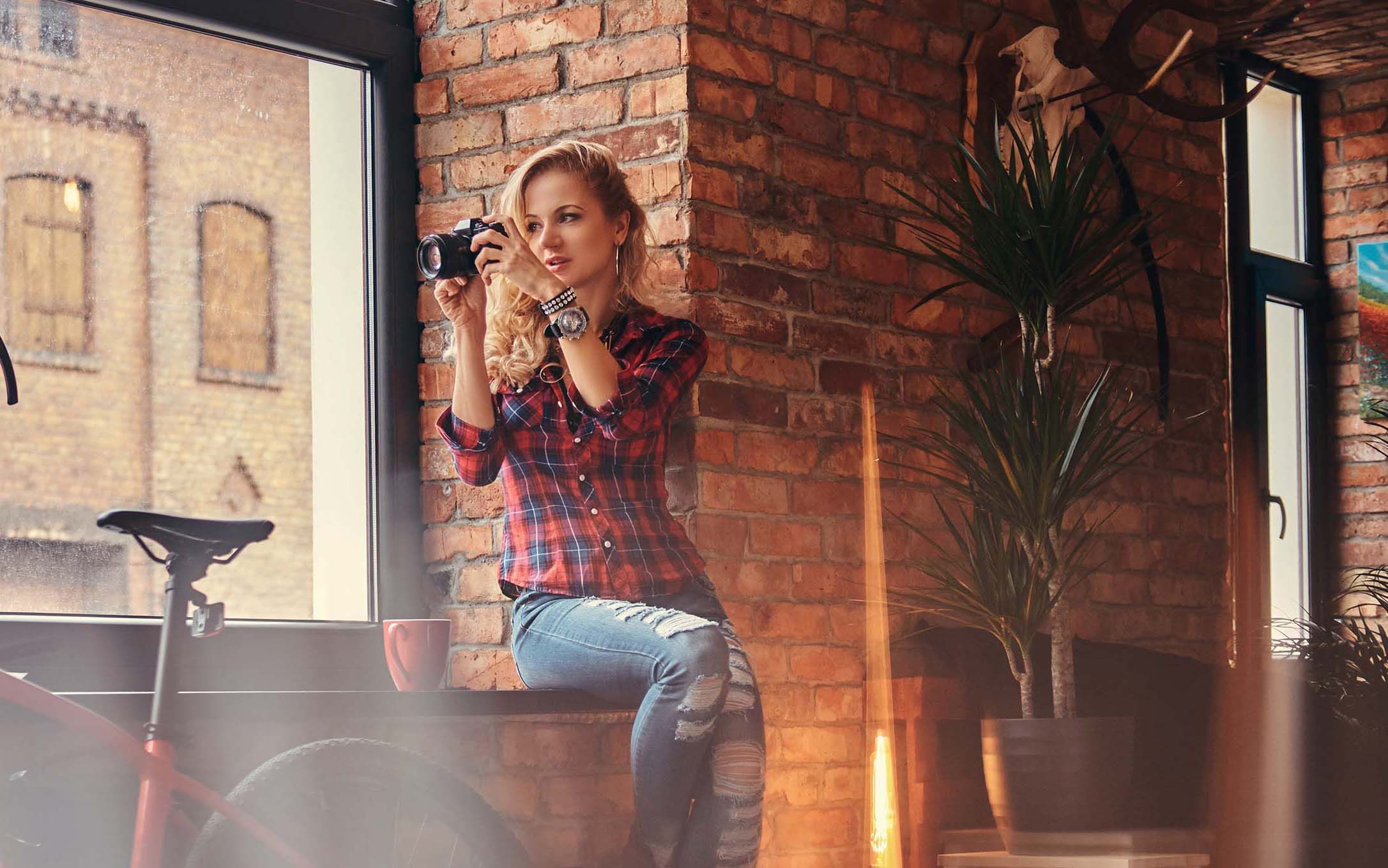 sensual blonde hipster girl in a studio with loft NQX6ED